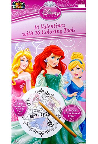 Disney Princess 16 Valentines with 16 Coloring Tools 2015 Classroom Valentine Cards