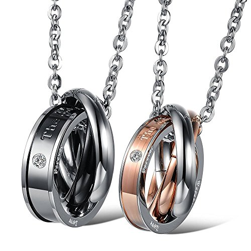 Konov Jewelry 2Pcs Mens Womens Cubic Zirconia Couples Stainless Steel Rings Pendant Love Necklace Set, 18 And 22 Inch Chain, Black Gold Silver