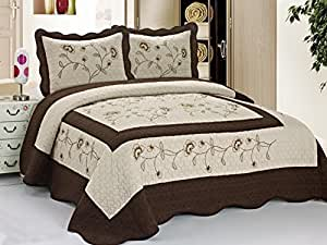 3pc Taupe / Brown High Quality Fully Quilted Embroidery Bedspread Bed Coverlets Cover Set , Queen King