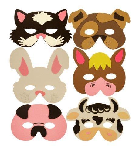 The Little Party Shop 2 x Childrens Eva Foam Farm Animal Masks Party Bag Filler Toys