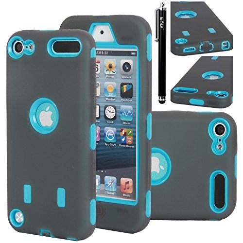 iPod Touch 5 Case, E LV iPod Touch 5 Case - Hard and Soft Hybrid Armor Defender Sports Combo Case for Apple iPod Touch 5 iTouch 5th Generation with 1 Screen Protector, 1 Black Stylus, 1 Water Resistant Bag and 1 E LV Microfiber Digital Cleaner linvel lv 8807 5