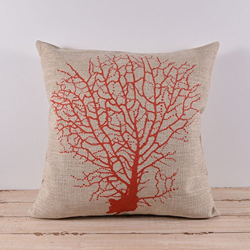 45X45Cm Red Corals Linen Cushion Covers Pillow Cases Kid Decor front-1062583