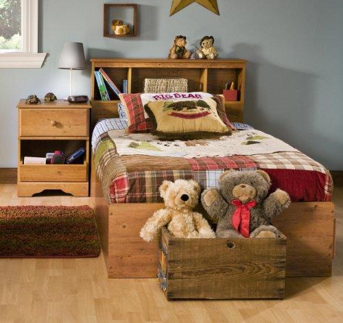 Kids Twin Wood Captain 39 S Bed 3 Piece Bedroom Set In Country Pine Kjhfkdjgkld