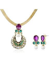 Sia Art Jewellery Enamel Jewellery Set For Women (Golden) (AZ2045)