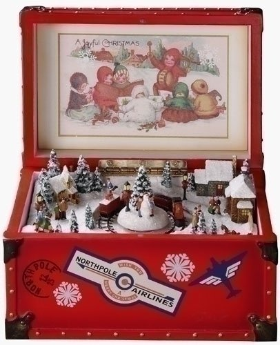 Retro Animated Decorative Vintage Red Trunk Christmas Music Box