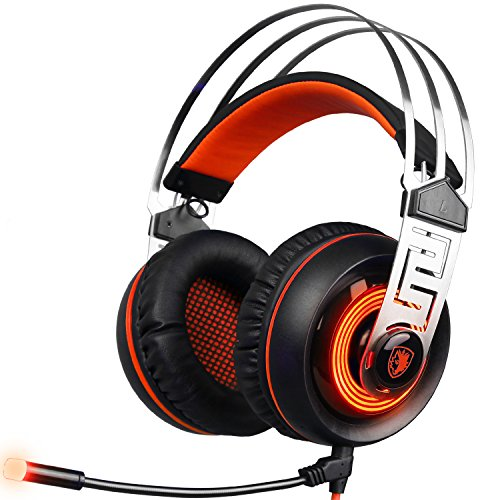 [2016 Newest Updately Gaming Headset]SADES A7 USB 7.1 Surround sound Professional Stereo Gaming Headphone Led Lighting Headsets with Microphone Vibration for Laptop PC(Blackorange)