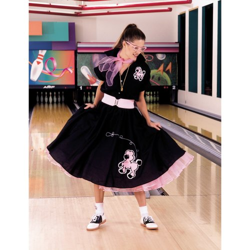 Complete Poodle Skirt Outfit Plus (Black & Pink) Adult Costume - Adult Costumes