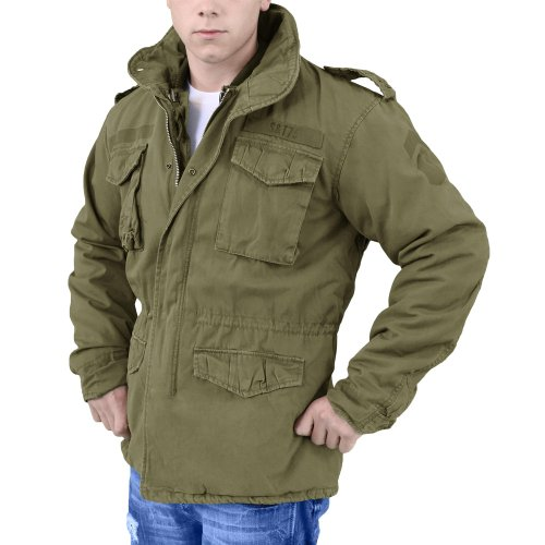 Used greek military m65 jacket, olive drab