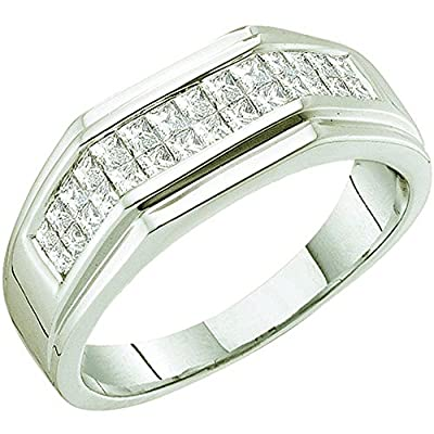 1.00 Carat (ctw) 14k White Gold Princess White Diamond Men's Hip Hop Invisible Wedding Anniversary Band