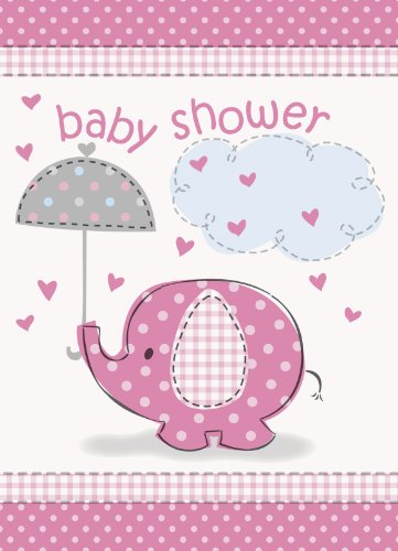 Umbrella Elephant Girl Baby Shower Invitations w/ Envelopes (8ct) - 1