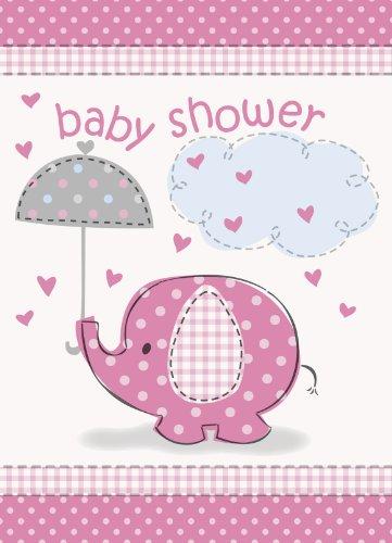 Umbrella Elephant Girl Baby Shower Invitations w/ Envelopes (8ct)