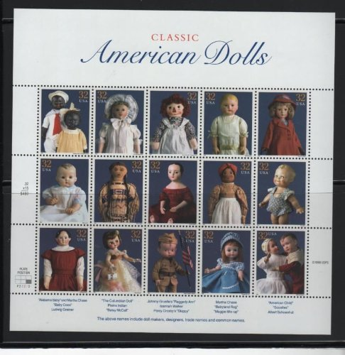Classic American Dolls Collectible Stamp 32 Cent Sheet - Scott 3151 - 1