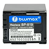 Blumax 7.4 V/1750 mAh Li-Ion Battery for Canon BP-819 fits HF10/HF100/HF11/HG20/HG21/Legeria HF S20/HF S200/HF S21