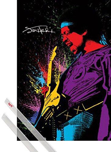 Poster + Sospensione : Jimi Hendrix Poster Stampa (91x61 cm) Chitarra Solo E Coppia Di Barre Porta Poster Trasparente 1art1®
