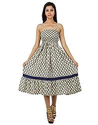 Trendy Polyester Floral Dress Beige Printed Medium For Women By Rajrang