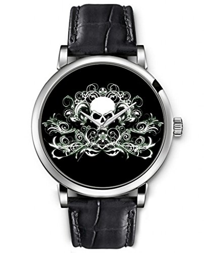 Sprawl Analog Black Genuine Leather Strap Fashion Ladies Wrist Watch --Elegant Floral Skull Pattern