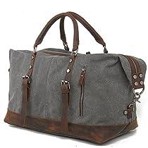 Peacechaos Oversized Canvas Leather Trim Travel Tote Duffel Shoulder Handbag Weekend Bag (Large, Dark Grey)