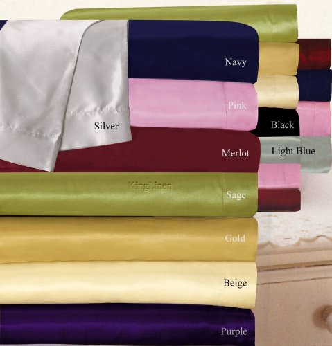 New Navy Charmeuse Lingerie Satin Silk Sheets Cal King front-1073195