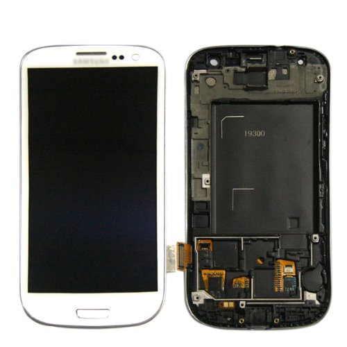 Full Lcd Screen + Touch Digitizer For Samsung Galaxy Siii S3 I9300 With Frame White