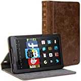 Fire HD 7 Case, GMYLE Book Case Vintage for Fire HD 7 (2014 model) (4th Generation) - Brown PU Leather Protective Book style Flip Folio Slim Fit Stand Case Cover