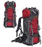 60L大容量 軽量 アウトドア スポーツバッグ キャンプ ハイキング リュック 旅行バックパック 防水登山用バッグ 多用途 トートバッグ ショルダーバッグ 男女兼用 (レッド)