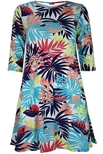 Womens Ladies Floral Skull Print Summer Sunny 3/4 Sleeve Flare Tunic Swing Dress