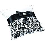 Lillian Rose Damask Ring Pillow, 7.5-Inch, Black
