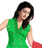 Green Glaze Cotton Fancy Embroidered Heavy Worked Party Wear Churidar Salwar Suit Unstitched Dress Materials