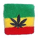Rasta 'Red Gold and Green Marijuana Leaf' Sweatband Wristband