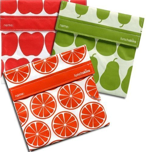 Lunchskins 3pk Reusable Sandwich Bags: Apple Orange Pear - 1