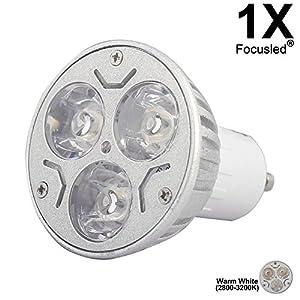 GU10 3W LED Bulbs Home Bulbs Reading Bulbs LED 220V Brighter Than Halogen Lamps Warm White 1- Packs by Focusled