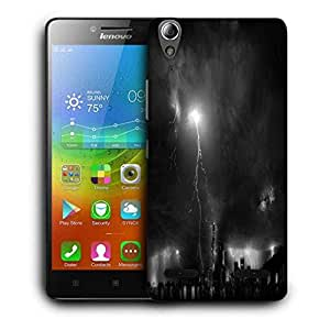 Snoogg Black Thunder Printed Protective Phone Back Case Cover For Lenovo A6000