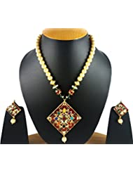 Aradhya Designer Elegant Kundan And Navratan Set With Onyx Stone Beads With Earrings For Women And Girls