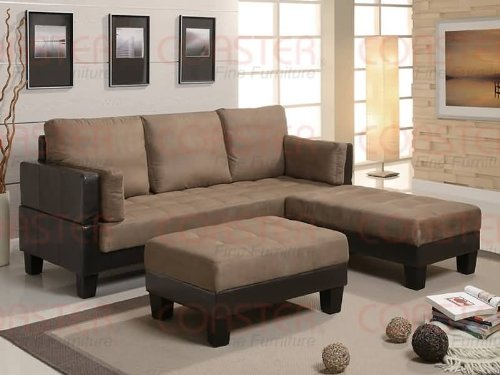 SOFA BED OTTOMAN 4 PIECE SET BROWN MICROFIBER COUCH