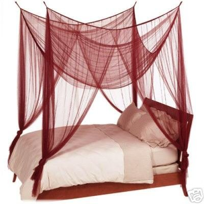 BURGUNDY / MARRON 4 POSTER BED CANOPY MOSQUITO NET FULL QUEEN KING