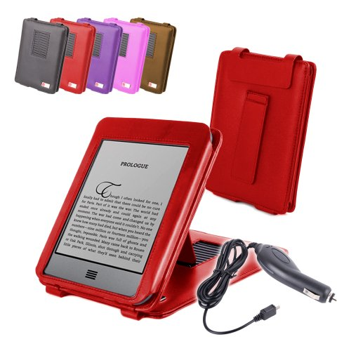 "DURAGADGET Red Genuine Leather Book Style Case/Cover With Magnetic Clasp For Amazon's New Kindle, Wi-Fi, 6"" E Ink Display (Latest Generation) + Car Charger"