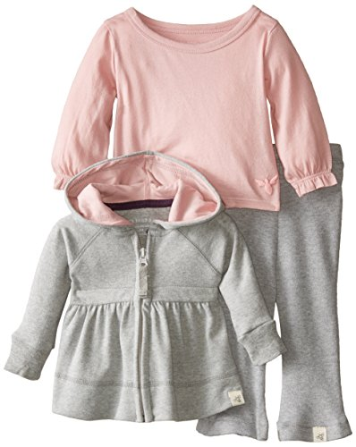 Burt's Bees Baby Baby-Girls Newborn Organic Brushed Hoodie Mixed Jersey Tee and Pant Set, Heather Grey, 9 Months