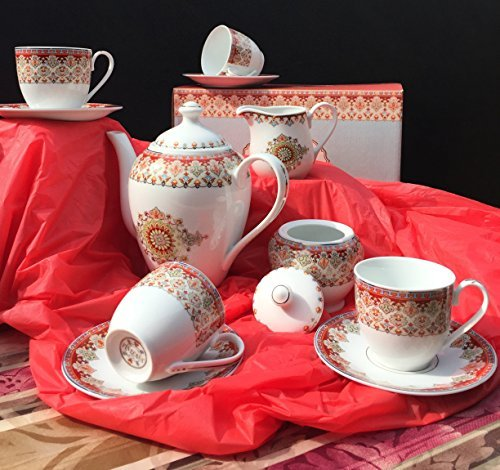 Brew To A Tea China Tea Set (Persian Market), China Tea Service, Tea Set for Adults, Tea Cups, China Teapot, Tea Service, Creamer Pitcher, Cream & Sugar Set, Tea Cups & Saucers, Tea Pot, 11 Piece