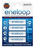 Sanyo Eneloop AA Pre-Charged Rechargeable Batteries, 4 Pack