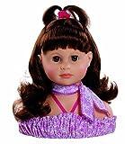 Paola Reina - Cabeza grande para peinar con 7 accesorios, 23 cm, color castaño (05761)