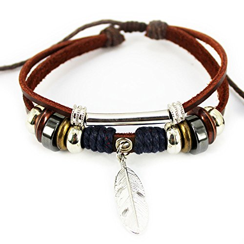 Wild Wind Tribal Leather Silver Tone Tube Multi-Strand Metal Plate Leather Length Adjustable Wrap Bracelet
