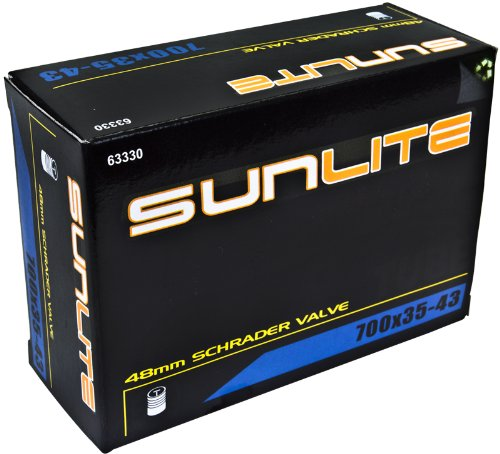 Sunlite Standard Schrader Valve Tubes, 700 x 35 - 43 / 48mm Valve, Black