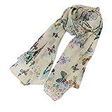 EJY Women Lady Chiffon Butterfly Print Scarf Neck Shawl Scarf Soft Scarves Wrap Stole