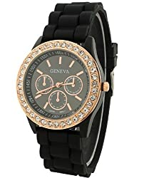 Geneva Rhinestone collection Silicone Strap Analog Black color Womens watch
