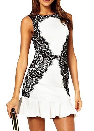 Z-Lmds Women'S Sexy Sleeveless Floral Printed Ruffles Pleated Club Dress L