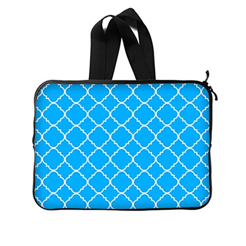 """Cool Quatrefoil Simple Blue And White Classic Reticular New Laptop Sleeve 15""""(Twin Sides) front-966606"""