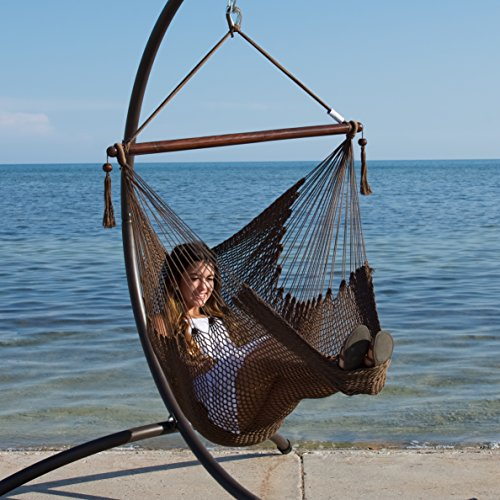 Caribbean Hammock Chair with Footrest - 40 inch - Soft-spun Polyester - (Mocha) (Hammock Stand Chair compare prices)