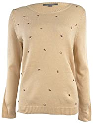 NY Collection Womens Pink Teardrop Rhinestone Embellished Sweater S