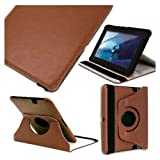 Leather Rotate Multi Angle Folio Stand Case Cover 3G / Wifi (2012 Release) With Sleep Awake Feature For Amazon Kindle Fire HD 7'' - Brown