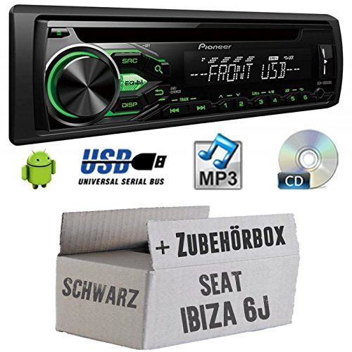 Seat Ibiza 6J Schwarz - Pioneer DEH1800UBG - CD/MP3/USB Autoradio - Einbauset